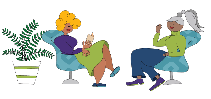 Illustration of two people sitting in chairs talking to each other
