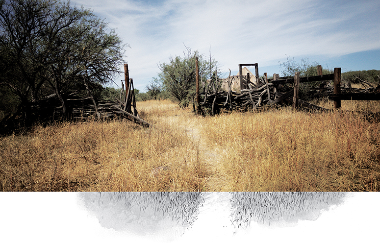Photo and illustration of trail passing through dilapidated wood fence